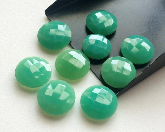 Chrysoprase Stones, Loose Chrysoprase Round Double Side Faceted, Checker Cut Gemstones, 14-16mm, 7 Pcs - Krs248