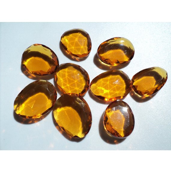 16-19mm Citrine Hydro Quartz Rose Cut Cabochons,citrine Colored Hydro Quartz Faceted Flat Back Cabochons For Jewelry (5pcs To 10pcs Options)
