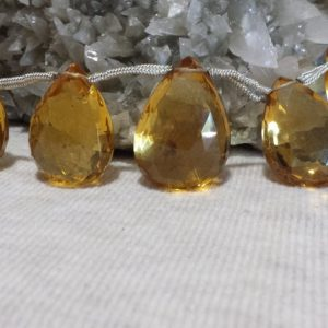 Shop Citrine Bead Shapes! Aaa Quality Citrine Faceted Graduating Flat Drop Beads 8 In. Faceted Pear Pendent Beads, Large Citrine Beads | Natural genuine other-shape Citrine beads for beading and jewelry making.  #jewelry #beads #beadedjewelry #diyjewelry #jewelrymaking #beadstore #beading #affiliate #ad