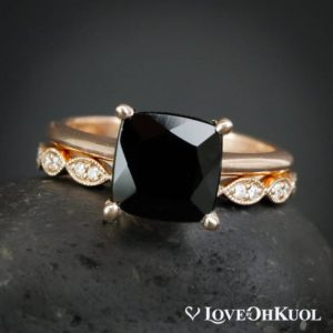 Cushion Cut Black Healing Tourmaline Ring, Double Diamond Leaf Wedding Band, Hand Milgrained, Dark Bride | Natural genuine Gemstone rings, simple unique alternative gemstone engagement rings. #rings #jewelry #bridal #wedding #jewelryaccessories #engagementrings #weddingideas #affiliate #ad