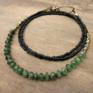 Shop Emerald Necklaces! Rustic Green Emerald Necklace, dainty genuine emerald May birthstone jewelry, beaded gemstone necklace in green gold and black | Natural genuine Emerald necklaces. Buy crystal jewelry, handmade handcrafted artisan jewelry for women.  Unique handmade gift ideas. #jewelry #beadednecklaces #beadedjewelry #gift #shopping #handmadejewelry #fashion #style #product #necklaces #affiliate #ad