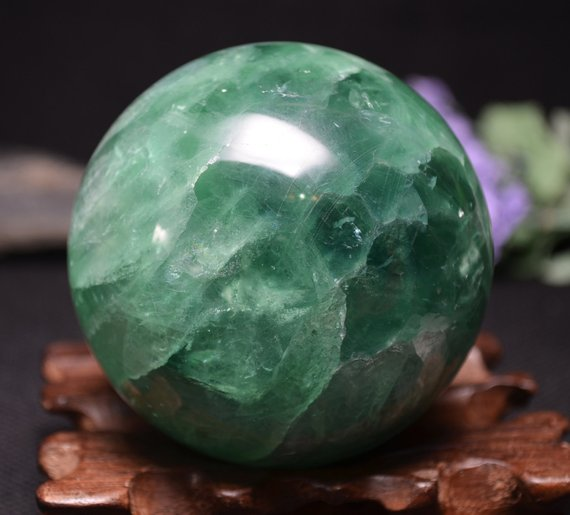 "2.95""rare Large Green  Fluorite Sphere With Angel's Wings /clear Green Fluorite Ball/colorful Rocks-75mm 718g"