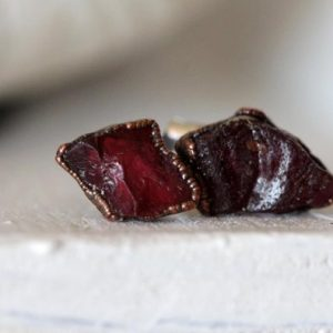 Raw Garnet Earrings Stone Posts Sterling Silver Studs Deep Red Electroformed Earrings Copper Jewelry Gemstone Jewelry Natural Stone | Natural genuine Gemstone earrings. Buy crystal jewelry, handmade handcrafted artisan jewelry for women.  Unique handmade gift ideas. #jewelry #beadedearrings #beadedjewelry #gift #shopping #handmadejewelry #fashion #style #product #earrings #affiliate #ad