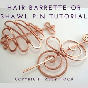 Shop Jewelry Making Tutorials! E Tutorial 'Hair Barrette or Shawl pin' Wire Jewelry lesson, PDF File instant download, learn to make wire hair clips | Shop jewelry making and beading supplies, tools & findings for DIY jewelry making and crafts. #jewelrymaking #diyjewelry #jewelrycrafts #jewelrysupplies #beading #affiliate #ad