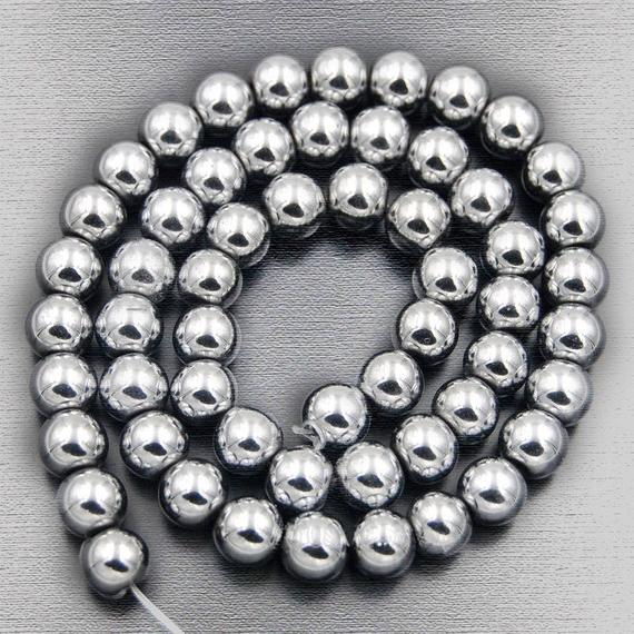 Wholesale Silver Hematite Beads, Silver Beads, Silver Gemstone Beads, Natural Hematite Beads, Round Natural Beads, . 4mm 6mm 8mm 10mm 12 Mm
