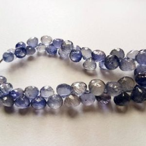 Shop Iolite Bead Shapes! 5-10mm Iolite Faceted Onion Beads, Violet Blue Iolite Onion Briolettes, Iolite Beads, Faceted Iolite Jewelry (3.5in To 7in Options) – Ks5052 | Natural genuine other-shape Iolite beads for beading and jewelry making.  #jewelry #beads #beadedjewelry #diyjewelry #jewelrymaking #beadstore #beading #affiliate #ad