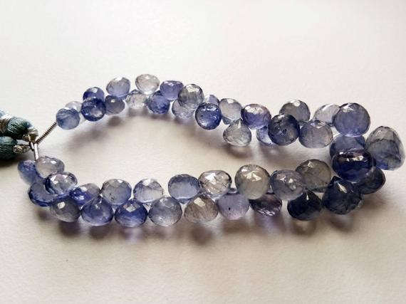 5-10mm Iolite Faceted Onion Beads, Violet Blue Iolite Onion Briolettes, Iolite Beads, Faceted Iolite Jewelry (3.5in To 7in Options) - Ks5052