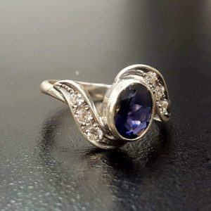 Shop Iolite Rings! Purple Iolite Ring, Iolite Ring, Natural Iolite Ring, Purple Vintage Ring, Solitaire Ring, Vintage Rings, Promise Ring, Silver Ring, Iolite | Natural genuine Iolite rings, simple unique handcrafted gemstone rings. #rings #jewelry #shopping #gift #handmade #fashion #style #affiliate #ad