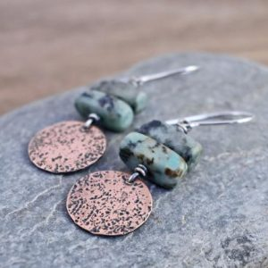 African Turquoise Jasper Earrings, Earthy Copper Disc Dangles, Rustic Green Stone Jewelry Handmade | Natural genuine Jasper earrings. Buy crystal jewelry, handmade handcrafted artisan jewelry for women.  Unique handmade gift ideas. #jewelry #beadedearrings #beadedjewelry #gift #shopping #handmadejewelry #fashion #style #product #earrings #affiliate #ad