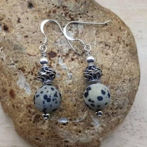 Shop Jasper Earrings! Dalmatian jasper earrings. Crystal Reiki jewelry uk. Bali silver dalmation jasper dangle drop earrings. Empowered crystals | Natural genuine Jasper earrings. Buy crystal jewelry, handmade handcrafted artisan jewelry for women.  Unique handmade gift ideas. #jewelry #beadedearrings #beadedjewelry #gift #shopping #handmadejewelry #fashion #style #product #earrings #affiliate #ad