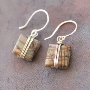 Shop Jasper Earrings! Picasso Jasper Earrings, Silver Wire Wrapped Forest Green Gemstone Earrings | Natural genuine Jasper earrings. Buy crystal jewelry, handmade handcrafted artisan jewelry for women.  Unique handmade gift ideas. #jewelry #beadedearrings #beadedjewelry #gift #shopping #handmadejewelry #fashion #style #product #earrings #affiliate #ad