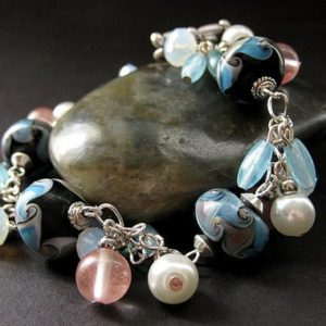 Lampwork Charm Bracelet in Baby Blue, Pink Cherry Quartz and Pearl. Handmade Jewelry. |  #affiliate