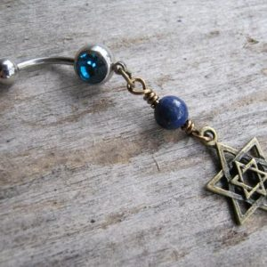 Shop Lapis Lazuli Shapes! Star Of David Belly Button Ring, Lapis Lazuli Piercing, Antiqued Bronze Body Jewelry,  Birthstone Navel Piercing, Israel Jewish Navel Ring | Natural genuine stones & crystals in various shapes & sizes. Buy raw cut, tumbled, or polished gemstones for making jewelry or crystal healing energy vibration raising reiki stones. #crystals #gemstones #crystalhealing #crystalsandgemstones #energyhealing #affiliate #ad