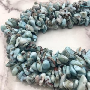 "Shop Larimar Chip & Nugget Beads! Natural Larimar Irregular Nugget Chips Approx 7-8mm 10-11mm 12-14mm 15.5"" Strand 
