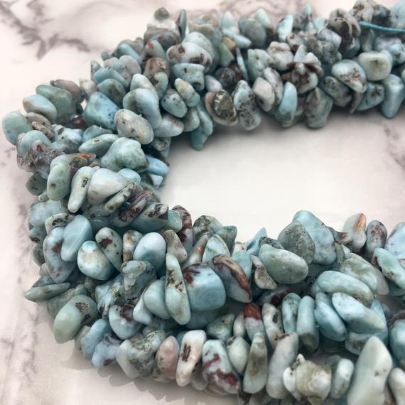 "Larimar Irregular Pebble Nugget Beads Approx 7-8mm 10-11mm 12-14mm 15.5"" Strand"