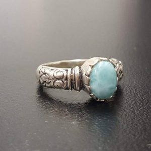 Shop Larimar Rings! Larimar Ring, Natural Larimar, March Birthstone, Tribal Ring, March Ring, Blue Vintage Ring, Jewel Of Atlantis, Solid Silver Ring, Larimar | Natural genuine Larimar rings, simple unique handcrafted gemstone rings. #rings #jewelry #shopping #gift #handmade #fashion #style #affiliate #ad