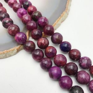 "Dark Lepidolite Smooth Round Beads 4mm 6mm 8mm 10mm 12mm Approx 15.5"" Strand 