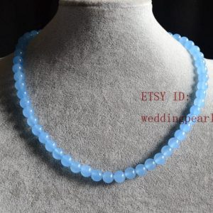 light blue jade necklace, sing strand 8mm bead necklace, real jade, bridesmaid necklace, wedding necklace,women necklace,statement necklace | Natural genuine Gemstone necklaces. Buy handcrafted artisan wedding jewelry.  Unique handmade bridal jewelry gift ideas. #jewelry #beadednecklaces #gift #crystaljewelry #shopping #handmadejewelry #wedding #bridal #necklaces #affiliate #ad