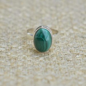 Natural Malachite Ring- Handmade Silver Ring-sterling 925-green Ring-gift For Her-scorpio Birthstone-promise Ring | Natural genuine Malachite rings, simple unique handcrafted gemstone rings. #rings #jewelry #shopping #gift #handmade #fashion #style #affiliate #ad