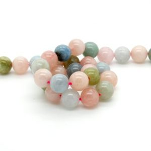 Shop Morganite Round Beads! Morganite, Natural Morganite Smooth Round Sphere Ball Loose Gemstone Beads | Natural genuine round Morganite beads for beading and jewelry making.  #jewelry #beads #beadedjewelry #diyjewelry #jewelrymaking #beadstore #beading #affiliate #ad