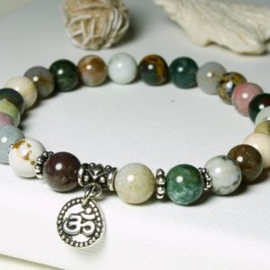 Shop Ocean Jasper Bracelets! Ocean Jasper Stretch Bracelet Womens Mens Natural Stones Om Sign Charm Chakra Healing Protection Meditation Yoga beaded mala gift 5326 | Natural genuine Ocean Jasper bracelets. Buy handcrafted artisan men's jewelry, gifts for men.  Unique handmade mens fashion accessories. #jewelry #beadedbracelets #beadedjewelry #shopping #gift #handmadejewelry #bracelets #affiliate #ad