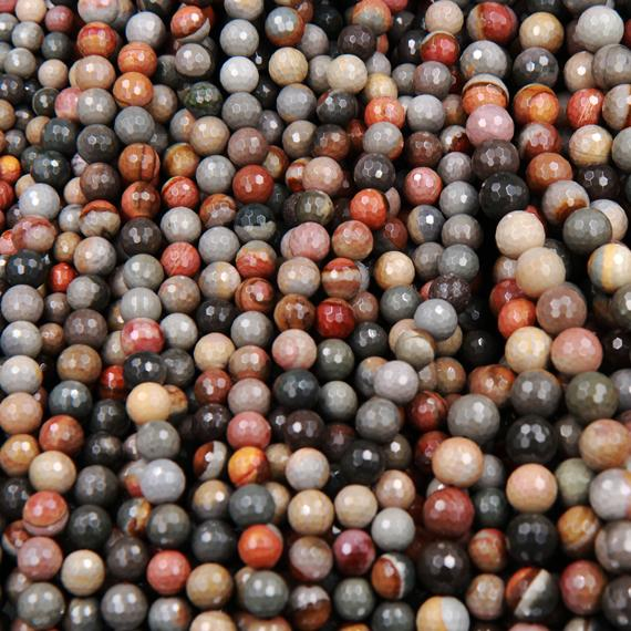 "Natural Polychrome Landscape Ocean Jasper 8mm, 10mm, 12mm Faceted Round Beads 15.5"" Strand"