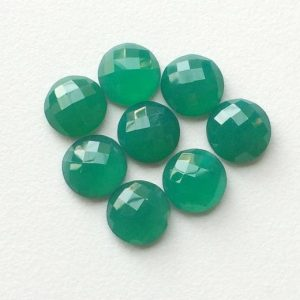 Shop Onyx Stones & Crystals! Green Onyx Cabochons, Faceted Round Flat Back Cabochons, Rose Cut Green Onyx, Green Onyx Round Gems, Calibrated 12mm Each, 5 Pcs | Natural genuine stones & crystals in various shapes & sizes. Buy raw cut, tumbled, or polished gemstones for making jewelry or crystal healing energy vibration raising reiki stones. #crystals #gemstones #crystalhealing #crystalsandgemstones #energyhealing #affiliate #ad