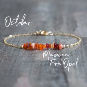 Mexican Fire Opal Bracelet, Raw Crystal Jewelry, October Birthday Gifts for Her, Birthstone Jewelry | Natural genuine Opal bracelets. Buy crystal jewelry, handmade handcrafted artisan jewelry for women.  Unique handmade gift ideas. #jewelry #beadedbracelets #beadedjewelry #gift #shopping #handmadejewelry #fashion #style #product #bracelets #affiliate #ad