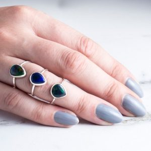 Shop Opal Rings! Black Opal Ring-Sterling Silver Black Opal-Natural Black Opal Ring-October Birthstone Ring-Gemstone Ring-Welo Opal-Silver Birthstone Ring | Natural genuine Opal rings, simple unique handcrafted gemstone rings. #rings #jewelry #shopping #gift #handmade #fashion #style #affiliate #ad