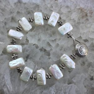 Shop Pearl Bracelets! Pearl Bracelet, White Pearl Bracelet, Freshwater Pearl Bracelet, OOAK Bracelet, Hill Tribe Silver Bracelet, Boho Bracelet, Summer Bracelet | Natural genuine Pearl bracelets. Buy crystal jewelry, handmade handcrafted artisan jewelry for women.  Unique handmade gift ideas. #jewelry #beadedbracelets #beadedjewelry #gift #shopping #handmadejewelry #fashion #style #product #bracelets #affiliate #ad