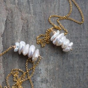 Pearl Necklace, Bridal Necklace, Mom Gift for Her, Organic Freshwater Pearl Pendant, Pearl Bar Necklace, Pearl Jewelry, June Birthstone | Natural genuine Pearl pendants. Buy handcrafted artisan wedding jewelry.  Unique handmade bridal jewelry gift ideas. #jewelry #beadedpendants #gift #crystaljewelry #shopping #handmadejewelry #wedding #bridal #pendants #affiliate #ad