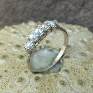 Shop Pearl Rings! Silver Plated Pearl Ring | River Pearl Ring | Natural genuine Pearl rings, simple unique handcrafted gemstone rings. #rings #jewelry #shopping #gift #handmade #fashion #style #affiliate #ad