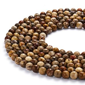 Shop Petrified Wood Beads! Faceted Natural Petrified Wood Round Gemstone Loose Beads 15.5'' Long Per Strand Size 6mm/8mm/10mm. GEM-DG0730-1808 | Natural genuine faceted Petrified Wood beads for beading and jewelry making.  #jewelry #beads #beadedjewelry #diyjewelry #jewelrymaking #beadstore #beading #affiliate #ad