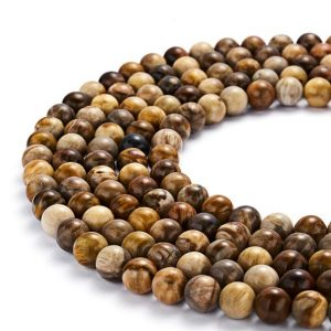 "Natural Petrified Wood Smooth Round Beads 6mm 8mm 10mm 12mm 15.5"" Strand 