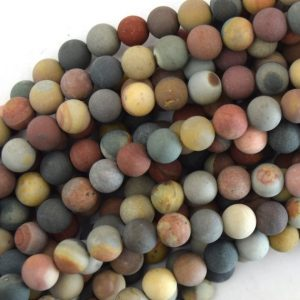 "Shop Picture Jasper Beads! Matte Landscape Polychrome Picture Jasper Round Beads 15.5"" Strand 6mm 8mm 10mm 12mm 