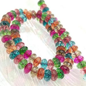 Shop Quartz Crystal Rondelle Beads! Rock Crystal Quartz Multi Coloured Rainbow Rondelle beads  8 x 5 mm / Quartz Gemstone Sparkling Best Quality Beads Choose size and Quantity | Natural genuine rondelle Quartz beads for beading and jewelry making.  #jewelry #beads #beadedjewelry #diyjewelry #jewelrymaking #beadstore #beading #affiliate #ad