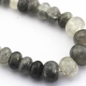 "Shop Quartz Crystal Rondelle Beads! Cloudy Quartz Graduated Smooth Rondelle Beads Size 6mm-16mm 15.5"" Strand 