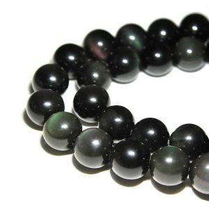 "Rainbow Obsidian Smooth Round Beads 4mm 6mm 8mm 10mm 12mm 15.5"" Strand 