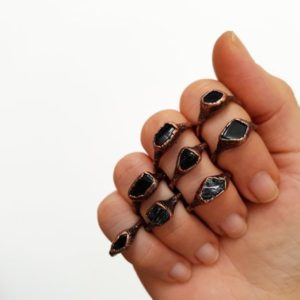 Shop Black Tourmaline Rings! Raw Black Tourmaline Ring – Electroformed Ring – Copper jewelry – Raw Stone Stacking Ring | Natural genuine Black Tourmaline rings, simple unique handcrafted gemstone rings. #rings #jewelry #shopping #gift #handmade #fashion #style #affiliate #ad