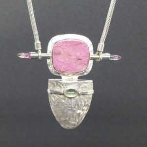 Shop Pink Calcite Jewelry! Reticulated sterling silver, cobalto calcite, pink druzy,  tourmaline tongue shaped necklace OOAK oneofakind | Natural genuine Pink Calcite pendants. Buy crystal jewelry, handmade handcrafted artisan jewelry for women.  Unique handmade gift ideas. #jewelry #beadedpendants #beadedjewelry #gift #shopping #handmadejewelry #fashion #style #product #pendants #affiliate #ad