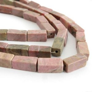 Shop Rhodonite Bead Shapes! 14mm Rhodonite Beads, Rhodonite Square Rectangle Beads, Pink Gemstone Beads, Full 16 Inch Strand, Pink And Black, Rho202 | Natural genuine other-shape Rhodonite beads for beading and jewelry making.  #jewelry #beads #beadedjewelry #diyjewelry #jewelrymaking #beadstore #beading #affiliate #ad