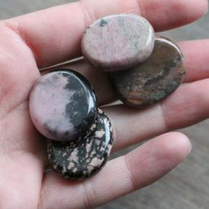 Rhodonite Small Flat Disk J37 | Natural genuine stones & crystals in various shapes & sizes. Buy raw cut, tumbled, or polished gemstones for making jewelry or crystal healing energy vibration raising reiki stones. #crystals #gemstones #crystalhealing #crystalsandgemstones #energyhealing #affiliate #ad