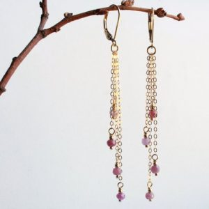Shop Ruby Earrings! RUBY Earrings, Gold-filled, Natural pink gemstones, long chain cluster, boho luxe, July birthstone, holiday or birthday gift for her,  5105 | Natural genuine Ruby earrings. Buy crystal jewelry, handmade handcrafted artisan jewelry for women.  Unique handmade gift ideas. #jewelry #beadedearrings #beadedjewelry #gift #shopping #handmadejewelry #fashion #style #product #earrings #affiliate #ad