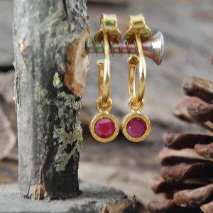 Ruby Earrings, Gold Hoop Earrings, Hoop Earrings, Gemstone Earrings, Red Gemstone Dangly Earrings, Textured Gold Earrings, Gold Ruby Drops | Natural genuine Array jewelry. Buy crystal jewelry, handmade handcrafted artisan jewelry for women.  Unique handmade gift ideas. #jewelry #beadedjewelry #beadedjewelry #gift #shopping #handmadejewelry #fashion #style #product #jewelry #affiliate #ad