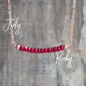 Shop Ruby Jewelry! Ruby Necklace, July Birthday Gift for Her, Gemstone Necklace, July Birthstone Necklace, Gift for Wife, Ruby Jewelry, Delicate Bar Necklace | Natural genuine Ruby jewelry. Buy crystal jewelry, handmade handcrafted artisan jewelry for women.  Unique handmade gift ideas. #jewelry #beadedjewelry #beadedjewelry #gift #shopping #handmadejewelry #fashion #style #product #jewelry #affiliate #ad
