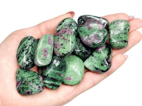 Ruby In Zoisite Tumbled Stone, Ruby Zoisite Tumbled Stones, Healing Ruby Zoisit Crystals, Anyolite Healing Stones, Ladiescrystals, Ladies