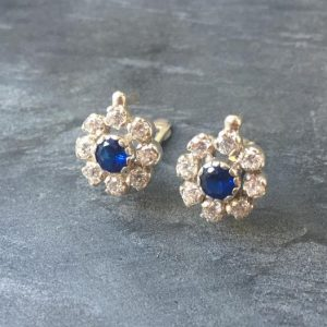 Shop Sapphire Earrings! Vintage Earrings, Flower Earrings, Sapphire Earrings, Created Sapphire, CZ Diamonds, 4 Carats, Blue Sapphire, Solid Silver, Pure Silver | Natural genuine Sapphire earrings. Buy crystal jewelry, handmade handcrafted artisan jewelry for women.  Unique handmade gift ideas. #jewelry #beadedearrings #beadedjewelry #gift #shopping #handmadejewelry #fashion #style #product #earrings #affiliate #ad