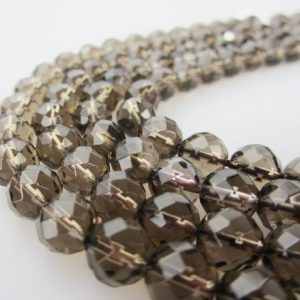 "Shop Smoky Quartz Faceted Beads! Beautiful Faceted Smoky Quartz Round Loose Beads Size 4mm / 6mm / 8mm / 10mm / 12mm / 20mm Approx 15.5"" Per Strand 