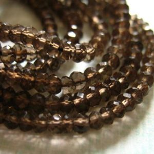 Shop Smoky Quartz Faceted Beads! Shop Sale. Smokey Quartz Rondelles, Luxe Aaa, Faceted, Full Strand, 3-3.5 Mm, Dark Chocolate Brown, Neutral | Natural genuine faceted Smoky Quartz beads for beading and jewelry making.  #jewelry #beads #beadedjewelry #diyjewelry #jewelrymaking #beadstore #beading #affiliate #ad