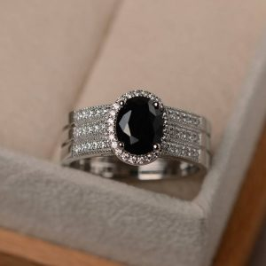 Shop Spinel Rings! Black spinel ring, oval cut gemstone, cocktail party ring, natural spinel ring, black gemstone ring,wide band ring | Natural genuine Spinel rings, simple unique handcrafted gemstone rings. #rings #jewelry #shopping #gift #handmade #fashion #style #affiliate #ad